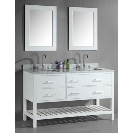london 61 wide white double sink open vanity set