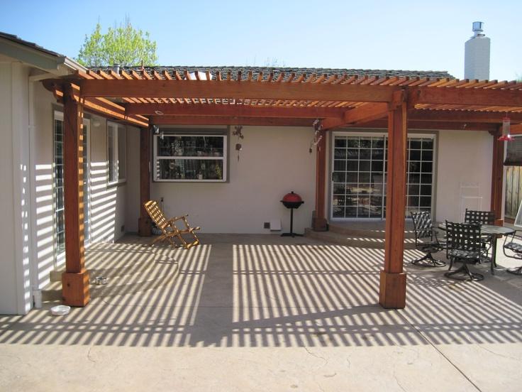 Patio redwood cover san jose ca concrete masonry for Redwood patio cover