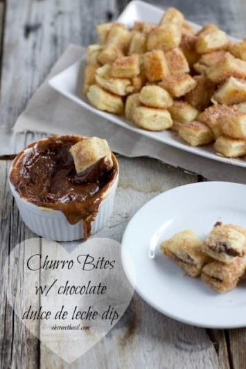 Churro Bites with chocolate dulce de leche dip ohsweetbasil.com