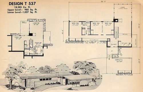 Atomic ranch plan mid century modern pinterest for Atomic ranch floor plans