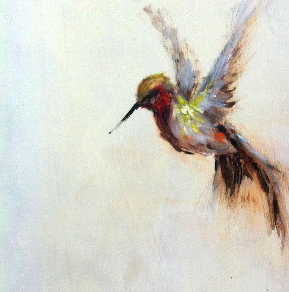 Original oil painting hummingbird