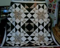 This is a Big Block Quilt done in beautiful tones of black and white prints. It is the finest 100 per cent cotton quilt shop fabrics.  The backing is a gorgeous black floral print on a white background.  The quilting is done in a varigrated black ...