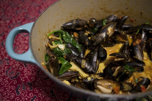 Mussel, spinach and cauliflower curry with crispy mussels cooked by @Oliver Lloyd from Nathan Outlaw's first cookery book