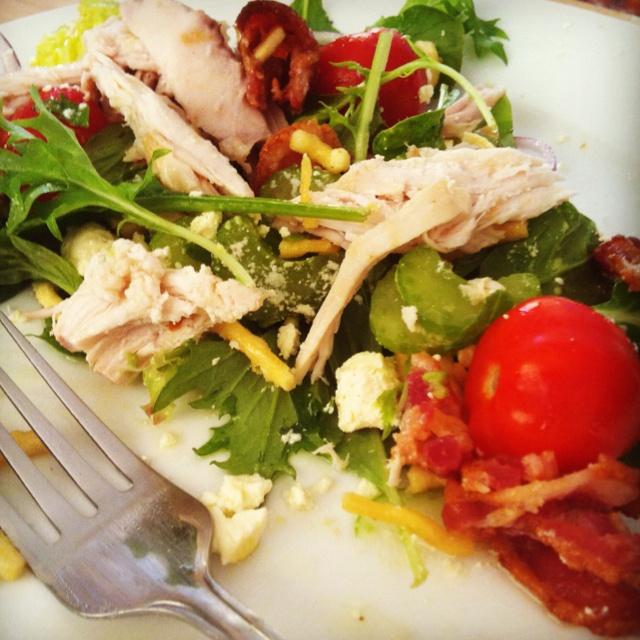 ... cherry tomatoes, red onion, avocado and garlic & cumin feta. #dinner