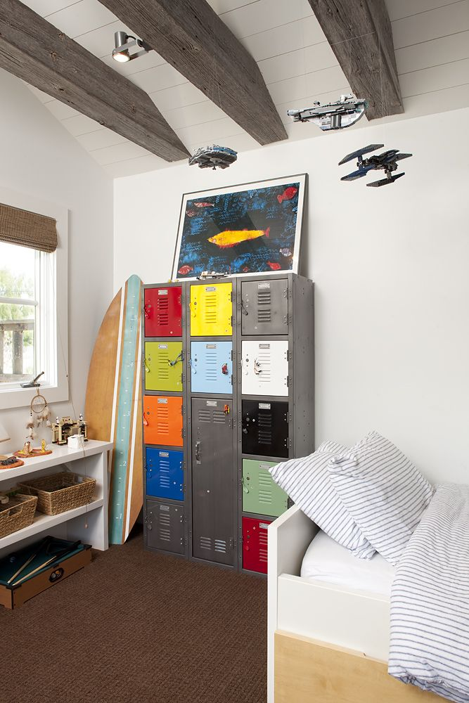 Repurposed metal locker in boys bedroom kidesign pinterest - Boys basement bedroom ...
