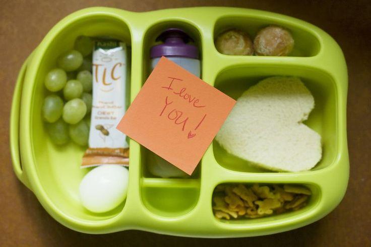 turkey & cheese heart shaped sandwich, green grapes, hard boiled egg ...