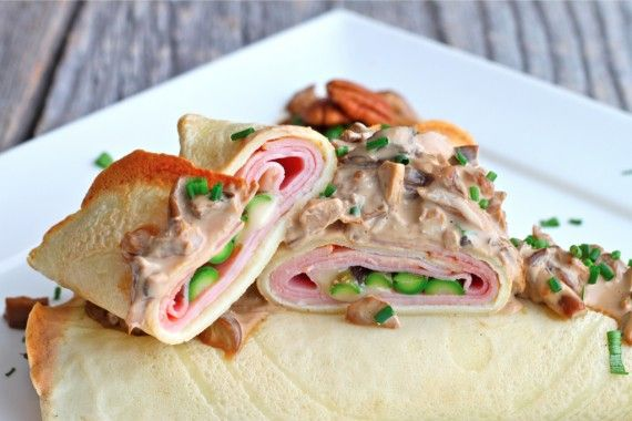 ... with brie ham and asparagus topped with a creamy mushroom sauce heaven