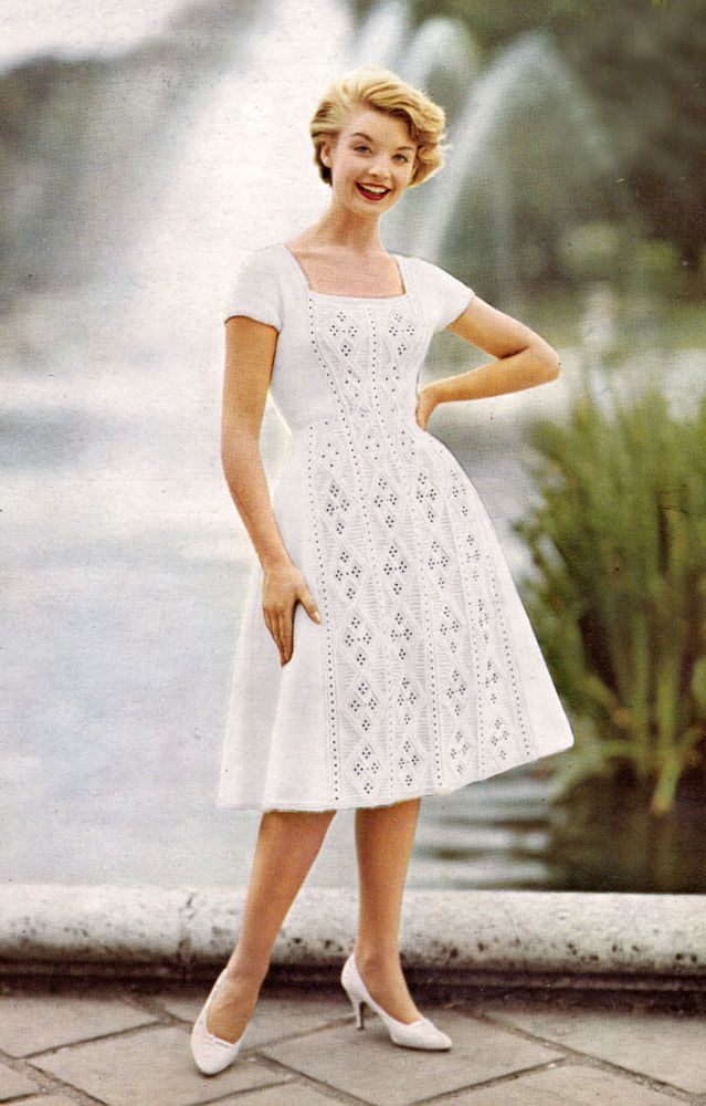 Wedding Knitting Patterns : VINTAGE KNITTING PATTERN: 60s WEDDING ROCKERBILLY BEADED DRESS No 6111