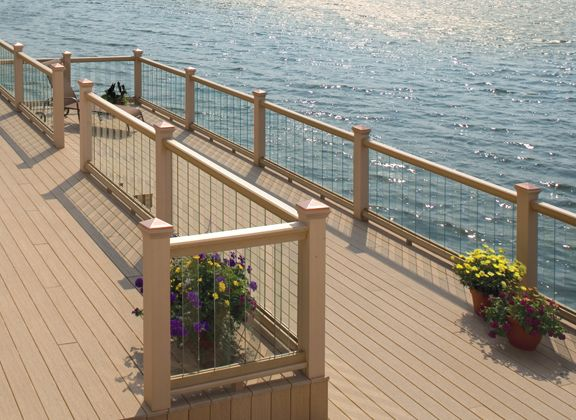 Deck railing outdoor room decor pinterest for Garden decking glass panels