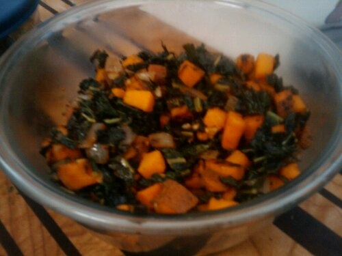 Sauteed yams and kale - this was delicious (I added smoked paprika to ...
