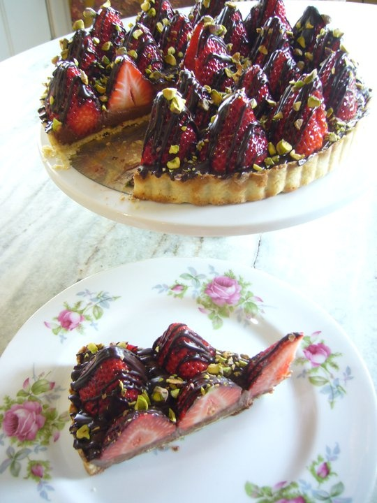 Chocolate Dipped Strawberry Tart with a Pistachio Nut Crust