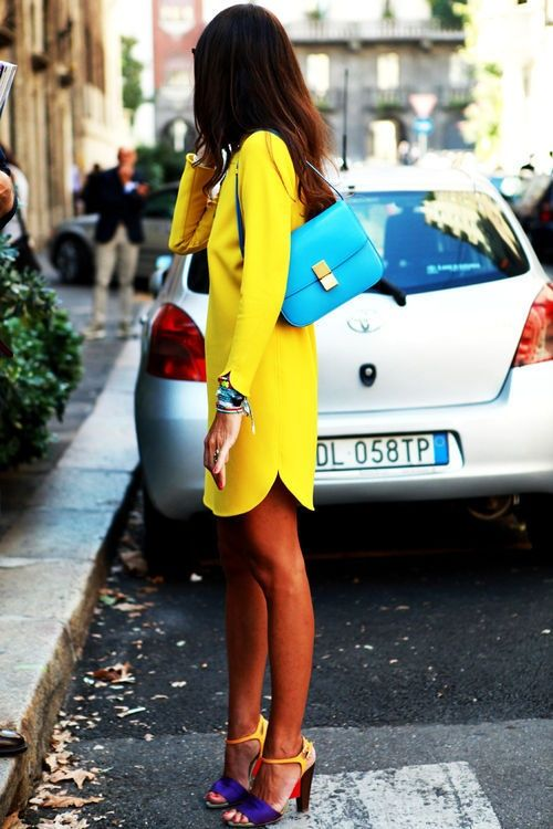 Yellow Dress, Blue Bag, Color-Block Shoes
