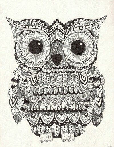 zentangle owl coloring pages - photo#3