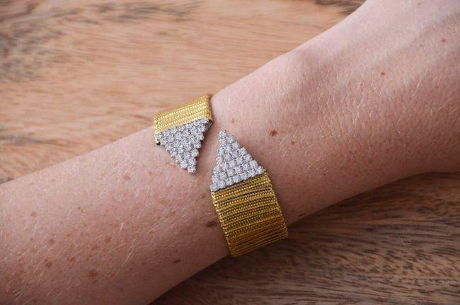 DIY rhinestone and gold wrap cuff bracelet - theStyleSafari.com