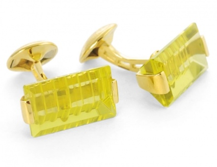 Rifle Cut Lemon Quartz & Yellow Gold Cufflinks by Tateossian, www.tateossian.com #cufflink #cufflinks #gentleman #hautejoaillerie #luxury #mensgifts #giftsformen