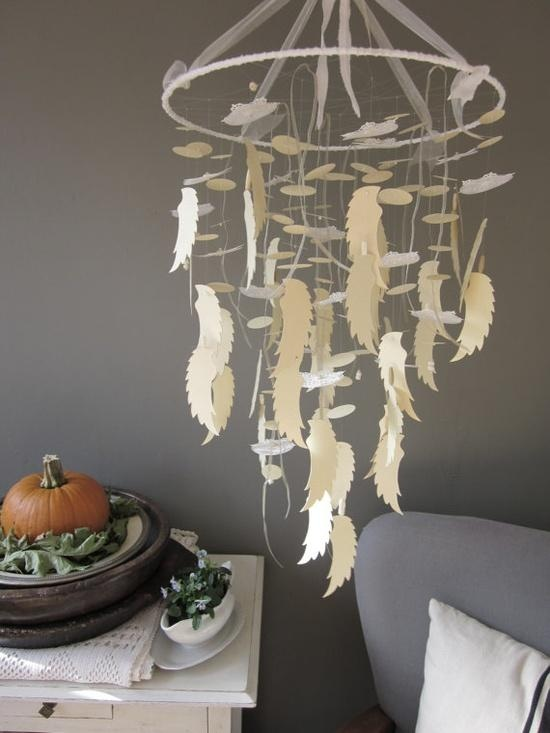 A Dream Catcher Inspired Angel Wing Mobile In Soft Gold