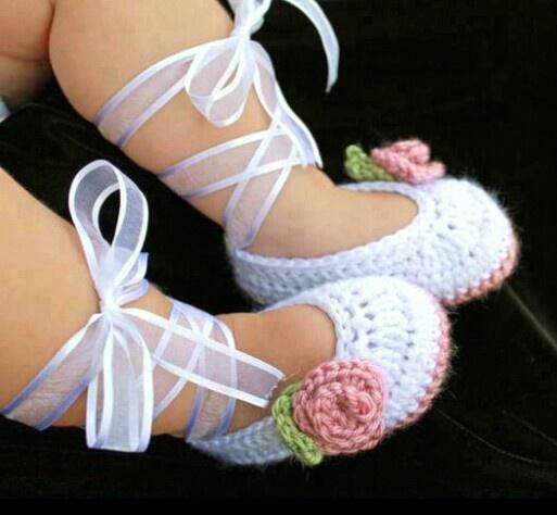 Girls Crocheted Baby Shoes Crochet : Shoes & Socks ...