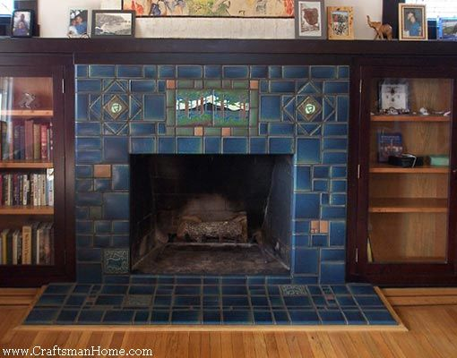 Blue tile w cabinets craftsman style pinterest for Craftsman fireplaces photos