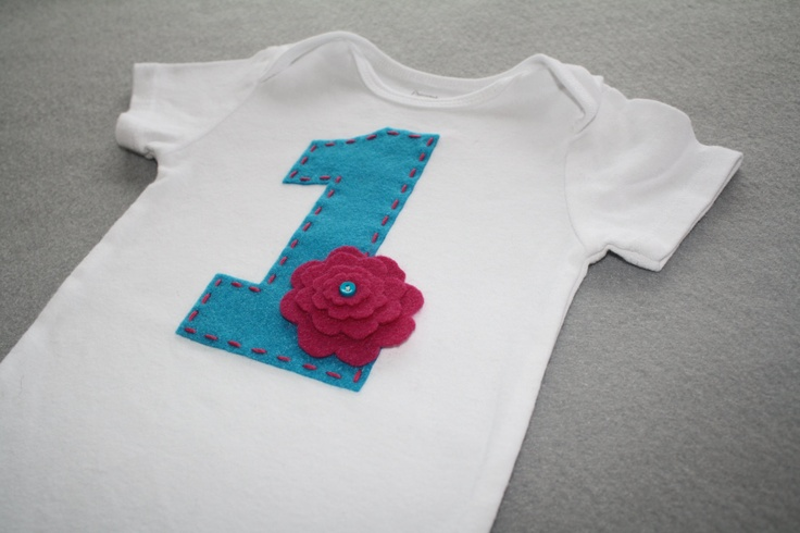 First Birthday Onesie with Bright Blue 1 and Pink Stacked Felt Flower ...