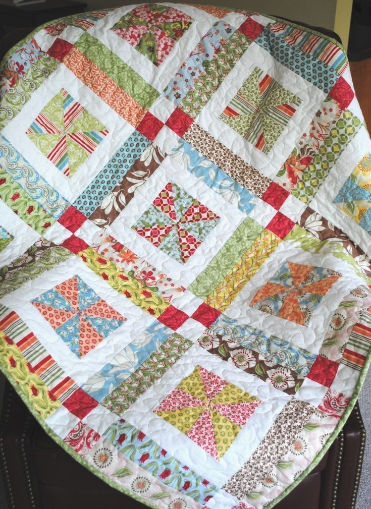 Easy Quilt Patterns With Layer Cakes : Lemonade Lollipop Baby QUILT PATTERN.... Easy...one LAYER CAKE, PDF available