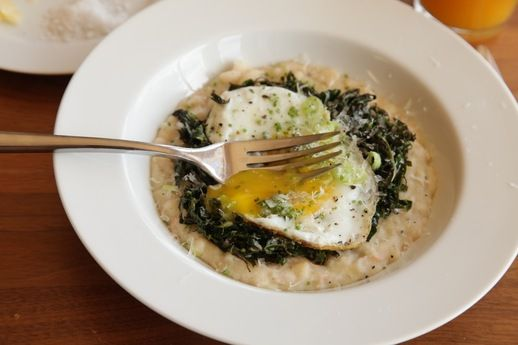 Cheesy Mashed White Beans With Kale, Parmesan, and a Fried Egg from Serious Eats {good easy dinner too!}