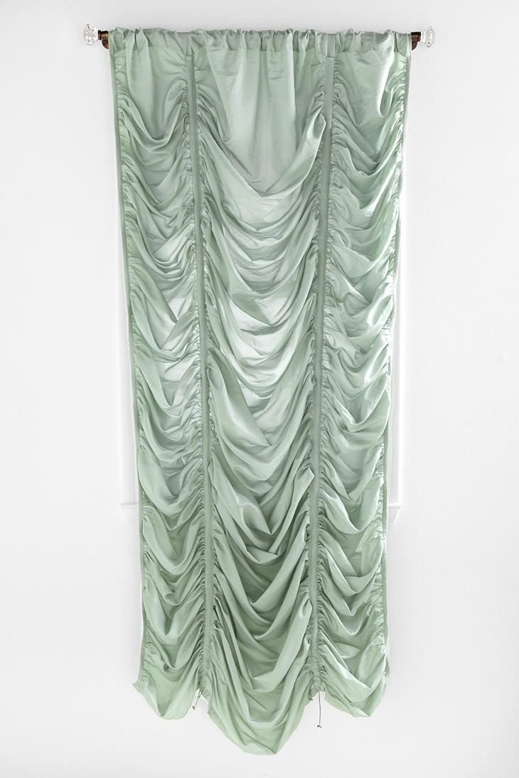 Balloon curtains in master bedroom