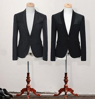 Leather Patch Designer Wool Slim Fit Blazer Jacket
