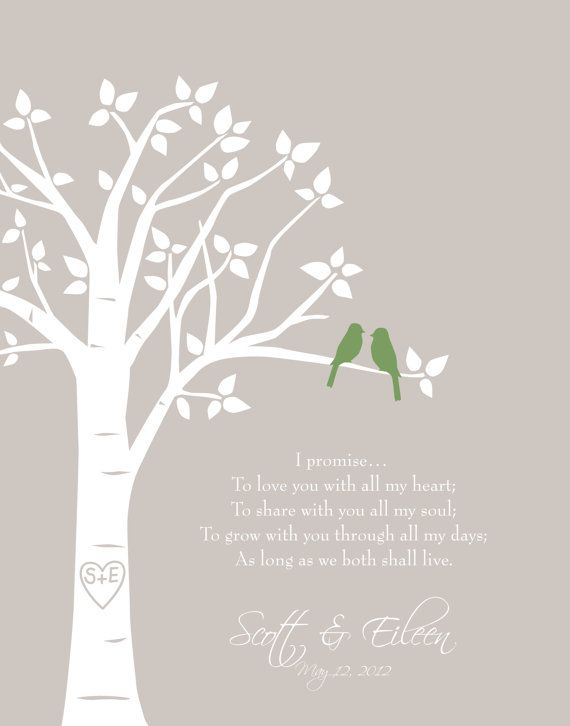 Custom Wedding Vows Love Birds Family Tree - First ...
