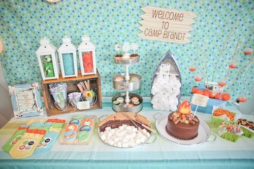Camping theme party dessert table