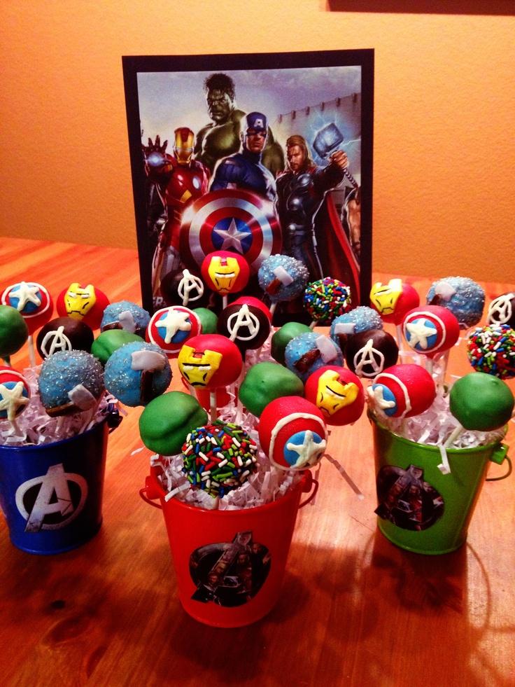 Cake Pops Ideas For Boy Birthday : Avengers Cake Pops Marvel birthday Pinterest
