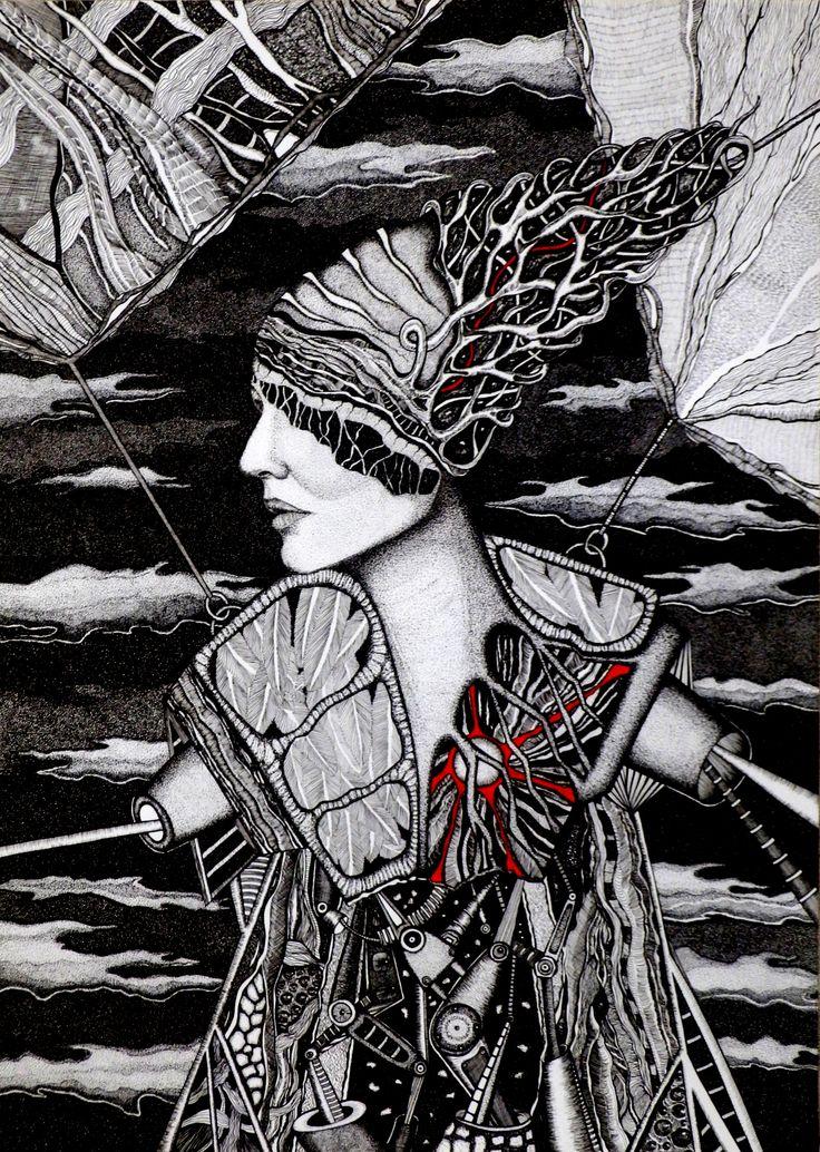 Aneta Mlaś –Touanda, PO-ZA-NAD (zawieszenie), rysunek tuszem, 50x70cm, 2014r.