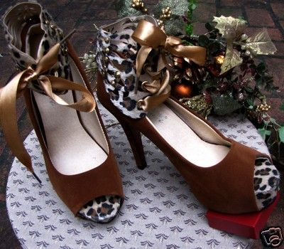 Peep Toe Leopard Heel Pumps Womens Ankle Strap Shoes http://myworld