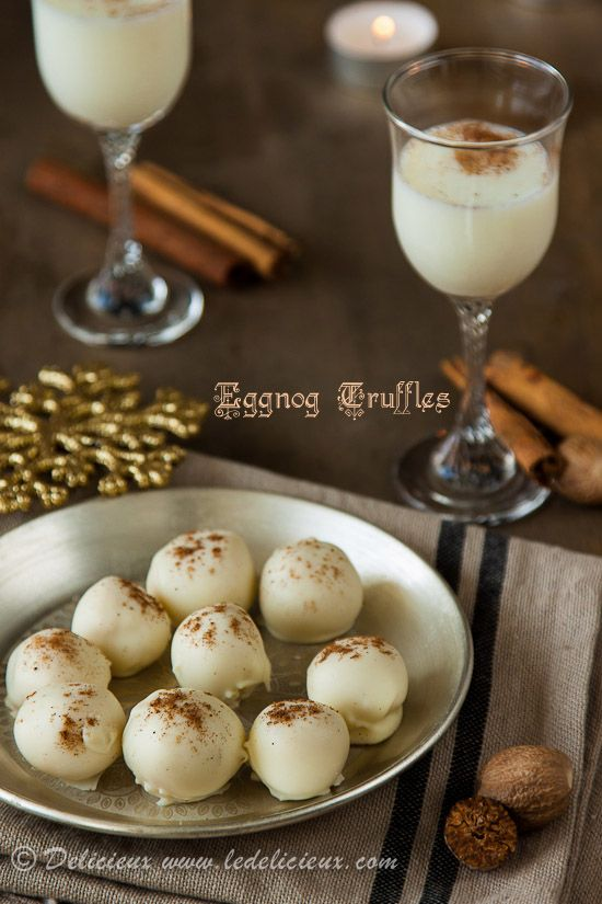 Eggnog Truffles - tastes just like eggnog, but in chocolate form! Only ...