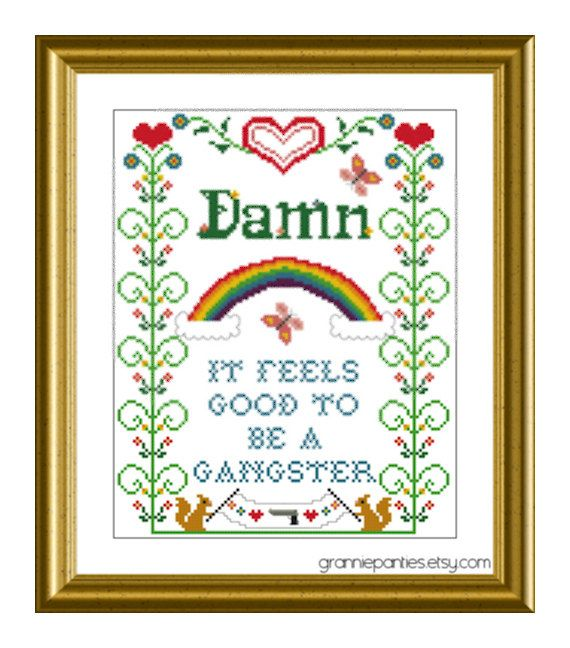 Gangster cross stitching.