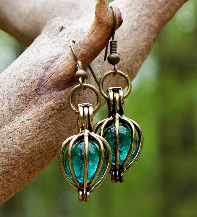 Recycled Antique Glass Brass Drop Earrings.
