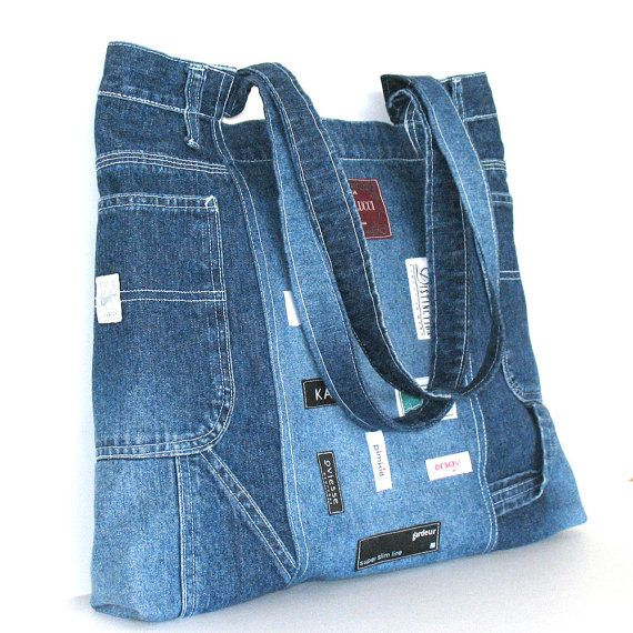 Recycled jean handbag , Large reclaimed denim shoulder bag in blue , one of a kind tote bag