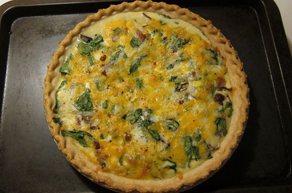 Spinach, Mushroom, & Bacon quiche | Savory Food Ideas | Pinterest