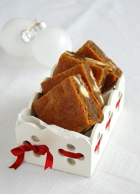 ... amazing Christmas Day breakfast! White chocolate gingerbread blondies