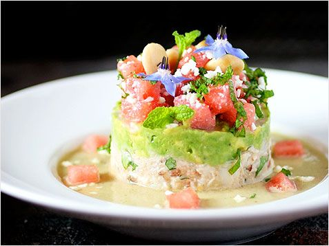 Crab Salad, Avocado with Lime, Watermelon with Feta & Mint ...and ...