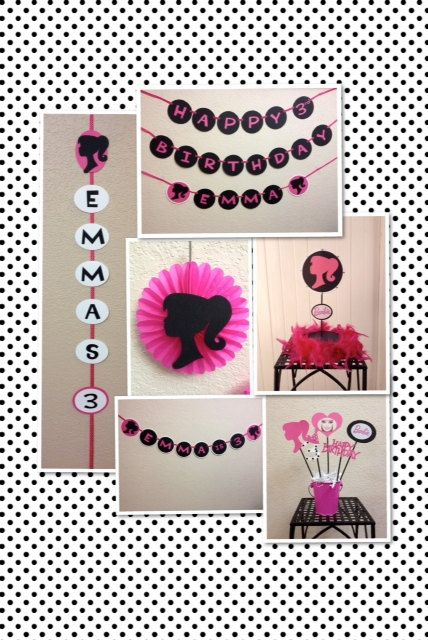 Barbie birthday decorations centerpieces banners hanging for Decoration barbie