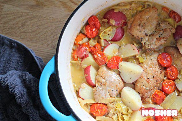 Chicken Thighs Braised In White Wine Recipe — Dishmaps