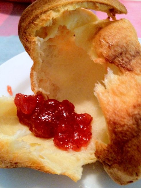 Popovers with strawberry-rhubarb jam | Favorite Recipes | Pinterest