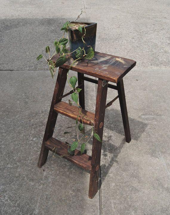Antique 2 Step Ladder. Repurposed Plant Stand/Shelf