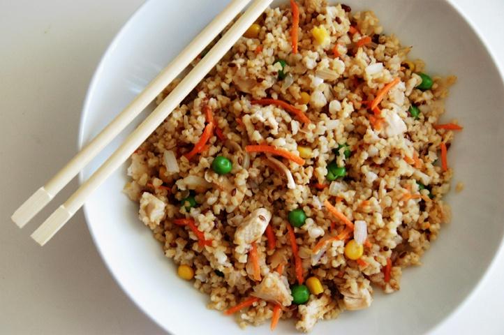 "Quinoa Fried ""Rice"" w/ chicken or tofu | Things to eat...yum. | Pin..."