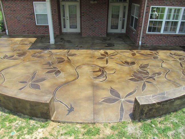 Concrete Patio Stain With Stencil Garden Of Delights