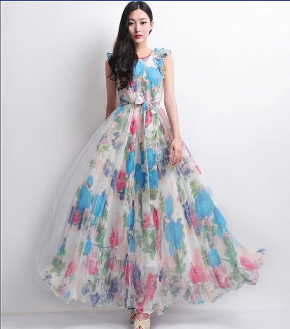 White tulle blue floral print a line dress wedding for Floral print dresses for weddings