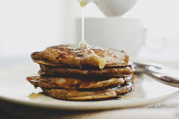 Pear and buckwheat pancakes