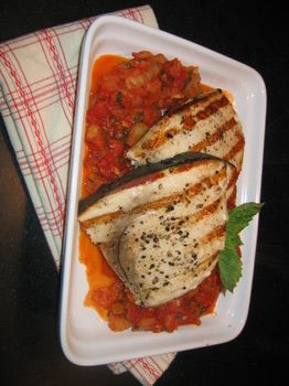 GRILLED SWORDFISH WITH TOMATO AND CAPER SAUCE Free recipe at cooknutri ...
