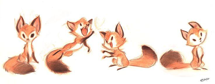 Cute fox drawing simple