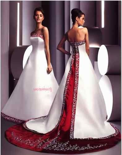 wedding dress with red trim onto train fashion clothing pinterest